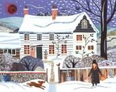 Virginia Woolf - Christmas Card - Holiday - Naive Art - Traditional Snow Scene - Writer's House - Bloomsbury - Dog - Christmas - England