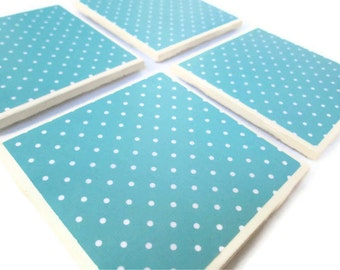 Polka Dot Coasters, Blue with White Polka Dots, Set of 4