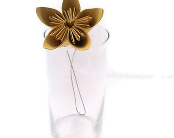 Honey Mustard Color Kusudama Origami Paper Flower with Stem