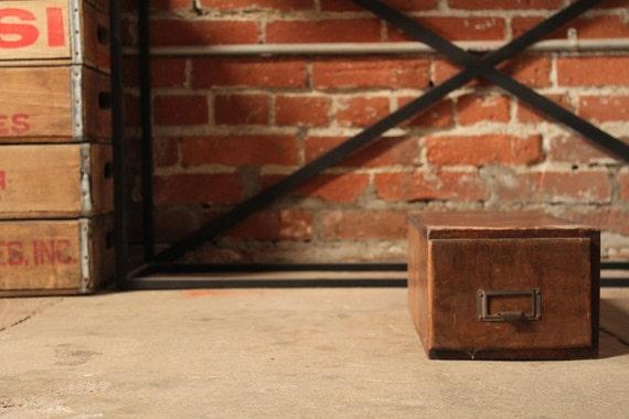 Vintage Wooden Card File Box