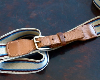 Sale - Vintage UNISEX Striped Navy/Beige Fabric and Brown Leather Belt with Brass Buckle