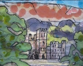 Line drawing, free machine embroidery, castle picture