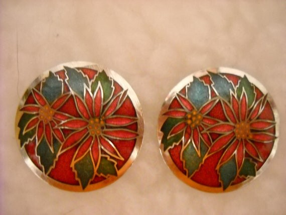 Cloisonne, Vintage, Earrings, 1970s, Christmas, Holiday, Poinsettia Flowers, Red, Green, Silver Tone, Pierced, Festive