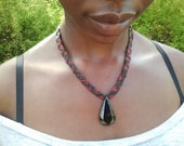 Black Jade Macramé Necklace - Red & Black - ONE DROP - Free U.S. Shipping