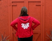 Upcycled Red Button Up Hoodie Vintage Paisley Trim White Crochet Applique Size Medium Winter Clothing by flowercitythreads