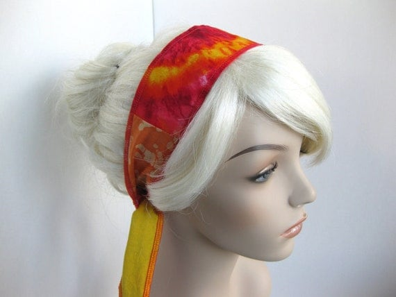 Summer Headband Hair Wrap Boho Gypsy Hippie Patchwork Yellow Pink Orange Hot Tropical Colors Fashion Hair Accessory