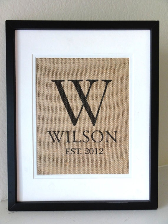 Personalized MONOGRAM on Burlap-  Includes Last  Name and Est. Date, Gift for Weddings, Engagements