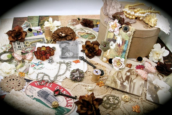 Remember When Ultimate Embellishment Scrapbook Altered Art Assemblage Vintage Project Found Objects Mixed Media Collage KIT
