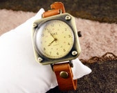 On Sale, 20%OFF,Leather Watch  ,light brown leather,vintage,classical, WN38-3