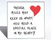 Fridge Magnet - Frienship quote, Distant love, friend, family, special someone.  Red heart