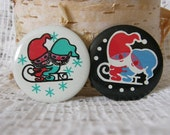 2 Soviet Christmas buttons / badges- vintage metal pinback buttons with elf made in USSR era Russia. 1970's.
