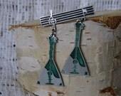 Soviet Balalaika brooch / pinback. Nice metal music notes and balalaikas brooch from Russian USSR era 1970's