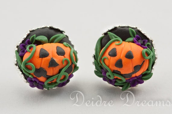 Jack O Lantern Earrings - Pumpkin Halloween Earrings - Polymer Clay Stud Post Back Earrings - Halloween Jewelry - Spooky Goth Jewelry