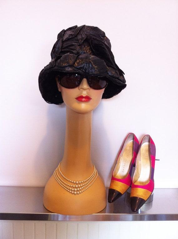 Schiaparelli Black Straw Summer Hat Circa 1960's