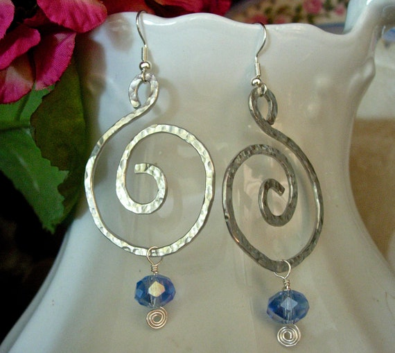 Hand Hammered Bold Earrings, Silver Colored Aluminum, with Blue Sparkle Bead Accent, Modern, Bold