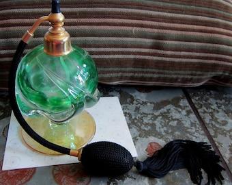 Vintage Green Pink Glass Perfume Atomiser Black Fringe Retro Fragrance Jar Dresser Top Display Never Used Like New
