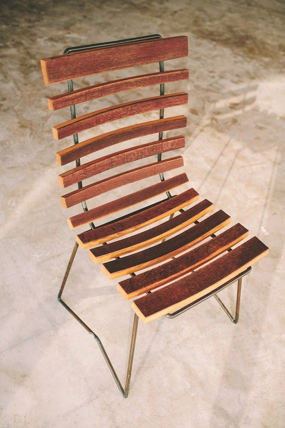 Cask side chair, handcrafted chair, rustic modern