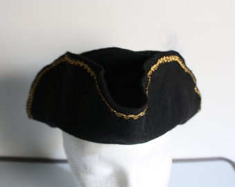 Pirate Captain Hook Black Felt Hat Kids Dress Up Buccaneer Three corner Hat SIZE LARGE