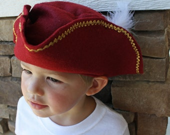 Pirate Captain Hook Burgundy Ruby Red Felt Hat Kids Dress Up Buccaneer White Feather Three corner Hat SIZE LARGE