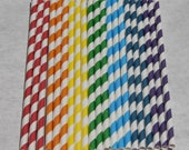 Rainbow Paper Straws, 100 Pack, 7 Color Mix