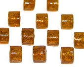 Amber Glass Bead with Gold Foil, 30 Cylinders 16x12mm, COGNAC AMBER Glass with Gold Metallic Effect, Jewelry Beads, Craft Supplies, S99
