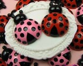 4 pieces Pink and Red Ladybugs   Resin Decoden Kawaii Flatback Cabochon 26x21mm