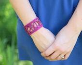 Magenta Laser Cut Wool Bracelet