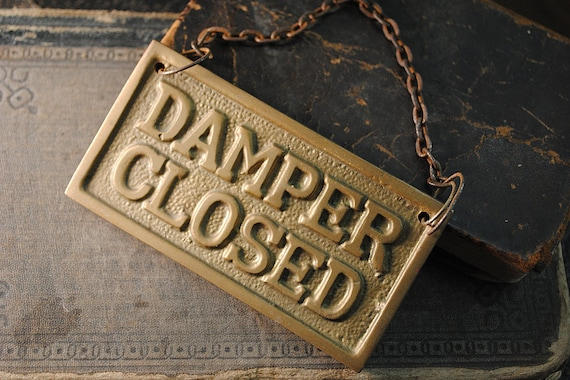 Vintage Brass Plate for Fireplace Damper Open Closed Sign Plaque