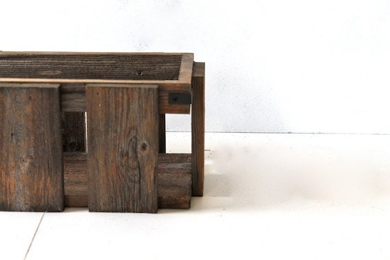 Desk Organizer - - Reclaimed Wood Crate - - Wooden Box - - Wood Caddy ...