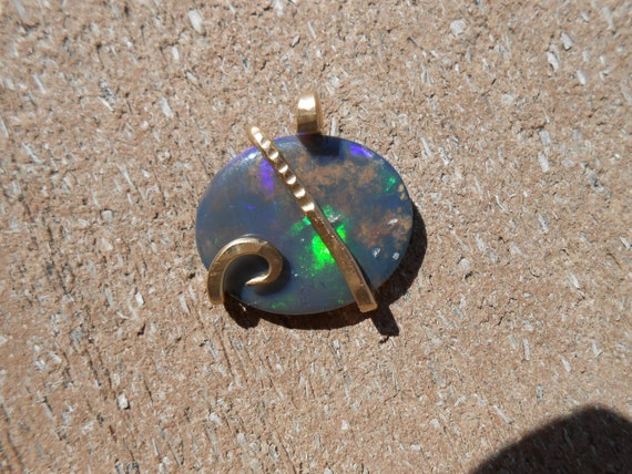 Australian  Opal Gold Wrapped Pendent
