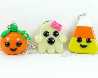 Kawaii Friendship Halloween Charm Necklace Jewelry Polymer Clay