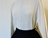 Incredible 1950s Lord & Taylor Tuxedo Front, Back Button, Creamy White Vintage Blouse