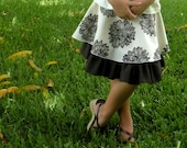 Organic Girls Skirt - Double Circle Skirt - Eco Friendly Kids Clothes - Back to School - Brown and Natural - Sizes 2-12