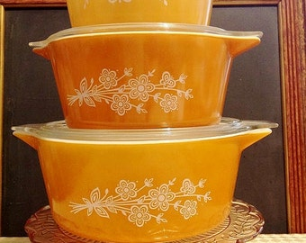 3 Pyrex 'Butterfly Gold' Covered Casseroles
