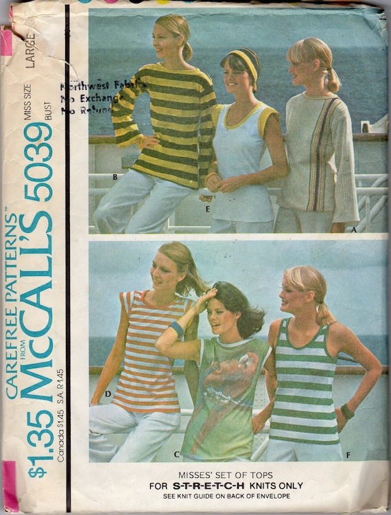 "1970s Womens Boat-neck & Scoop-neck Tops Pattern - Size Large, Bust 40""-42"" - McCall's 5039"