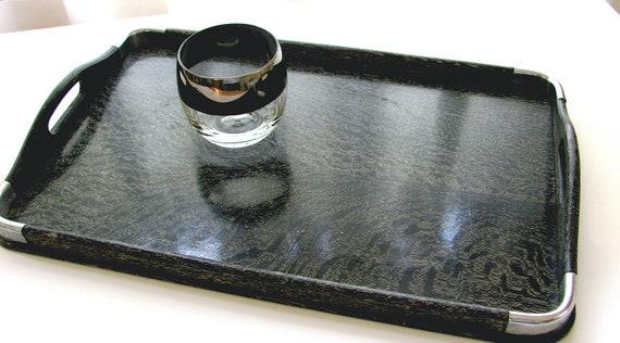Glamorous & Rare Mid Century  Black Palm Serving Tray