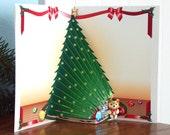 Popup Christmas tree card with Teddy Bear Merry Christmas