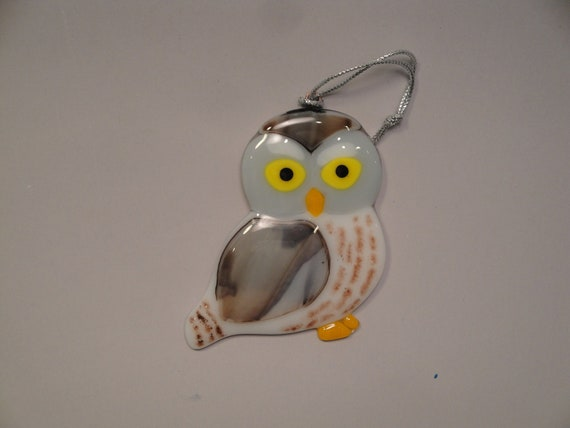 Fused Glass Owl Ornament - BHS01826