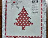 Handmade, 3-Dimensional, Stamped Christmas Card in Red and White