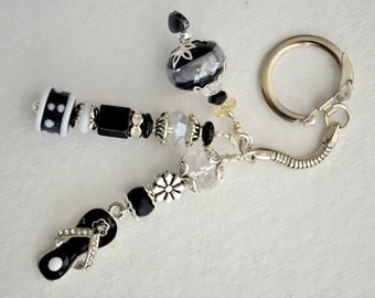 Black, Silver and White Beaded Key Chain with Flipflop Charm