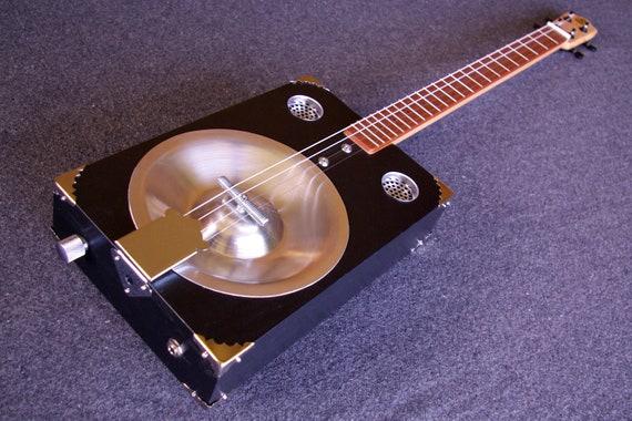 Lo-Fi Resonator - Blaack -  Acoustic / Electric 4-String - Cigar Box Guitar