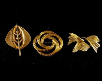 Vintage Brooch LOT Some Signed All Gold Tone