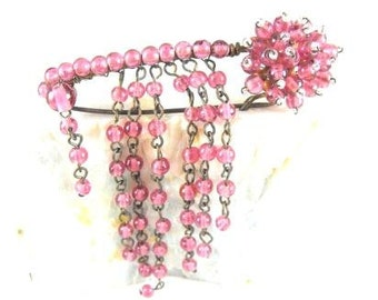 Beaded Waterfall Brooch Hand Wired Rose Tone Glass Bead Floret With Curtain Of Beads Dropping Below From Safety Pin Design