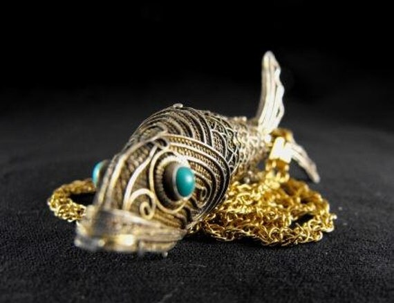 RESERVED Special Offer:Victorian Pendant Articulated Vinaigrette Old Koi Silver Gilt Filigree Turquoise