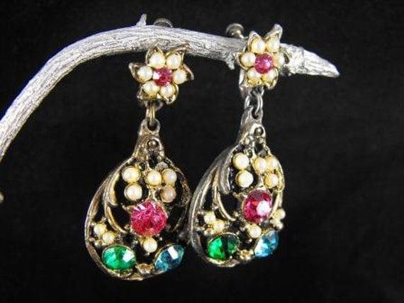 Vintage Earrings Multi Color Rhinestone Fruit Basket Danglers