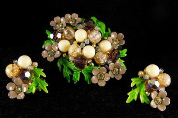 Selini Demi Parure Brooch Earrings Set Spring Sale 55.00 obo