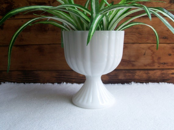 Milk Glass Large Ribbed Compote, Vintage 1950-60s