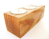 Tea Light Holder Rustic Red Oak Wood Home Decor