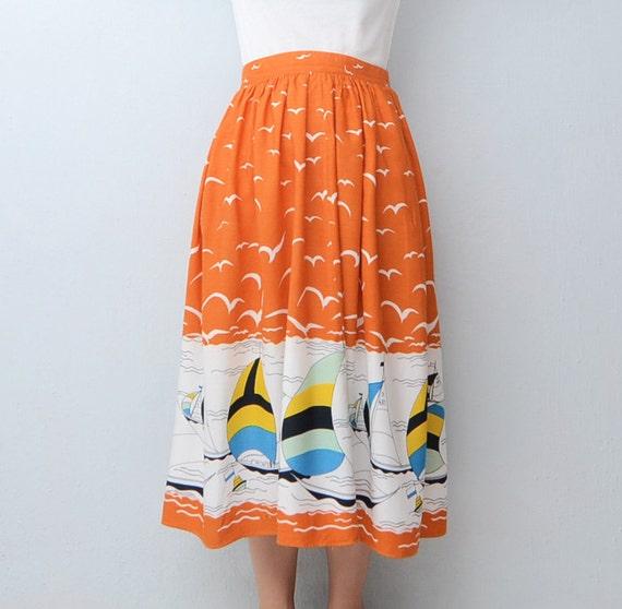 Vintage mediterranean orange skirt 1982.