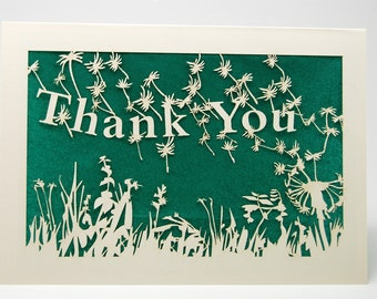 Dandelion blowing in the wind to say - Thank You - Laser Cut Greeting Card